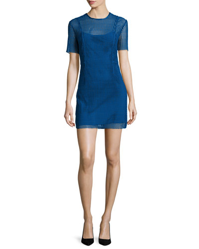 Short-Sleeve Chain Lace Mini Dress, Blue