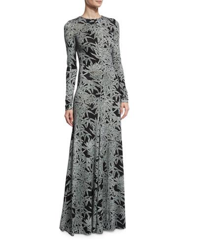 Leaf-Print Silk Long-Sleeve Gown, Black/Gray