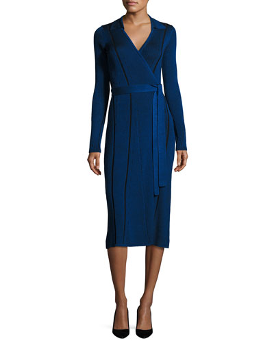 Transfer Rib Wrap Dress, Blue