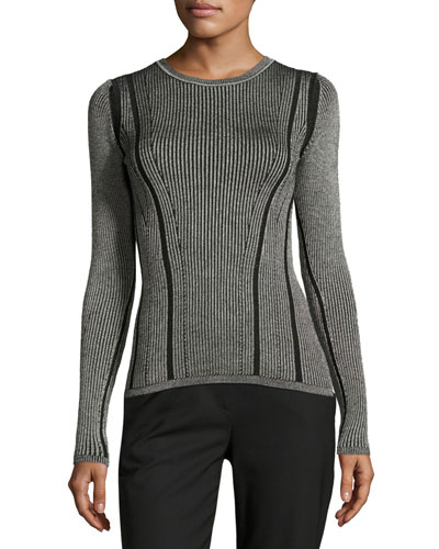 Ribbed Knit Pullover, Black/White