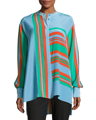 Oversized Striped Silk Shirt, Multicolor
