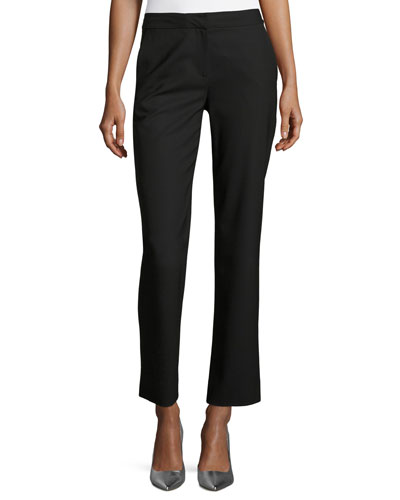 Stretch-Wool Cigarette Pants, Black
