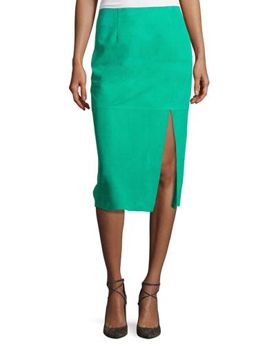 Suede Side-Slit Pencil Skirt, Blue