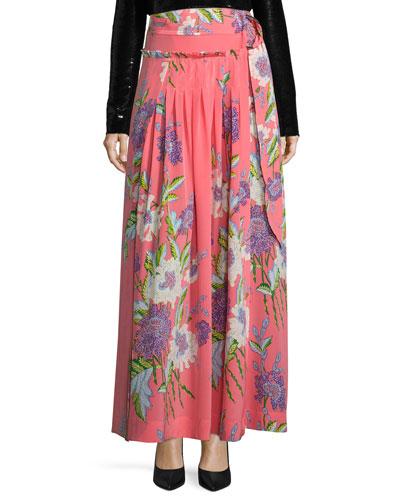 Floral-Print D-Ring Silk Midi Skirt, Pink