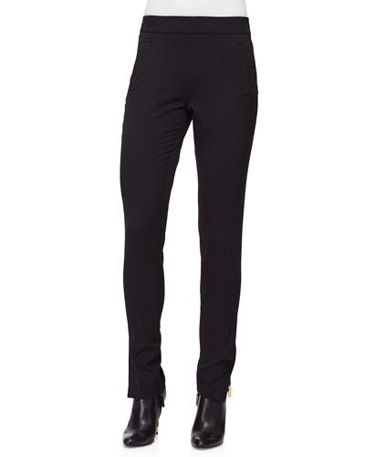 Slim-Leg Side-Zip Pants, Black