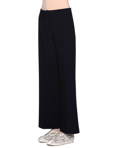 Mid-Rise Wide-Leg Pants, Navy