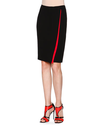 Silk Cady Faux-Wrap Skirt, Black/Red
