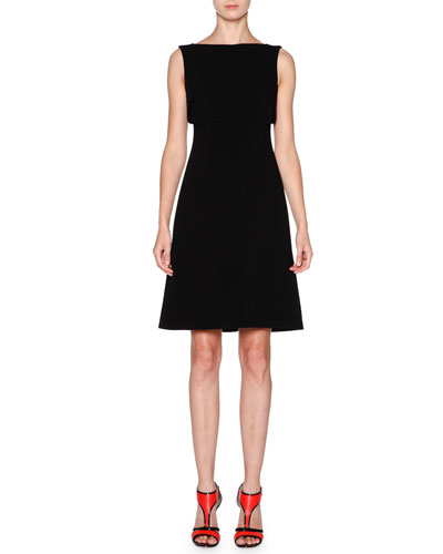 Sleeveless Overlay Fit-&-Flare Dress, Black