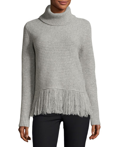 Fringe-Hem Turtleneck, Pearl Heather