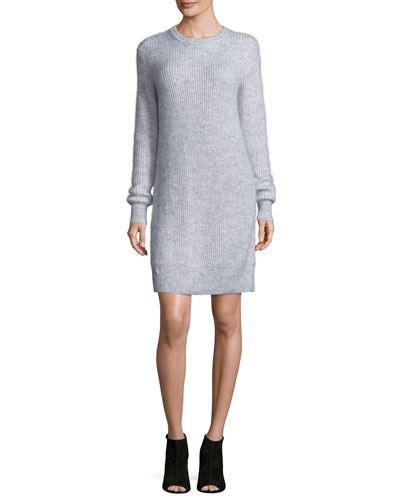 Wool-Blend Crewneck Sweater Dress, Pearl Heather