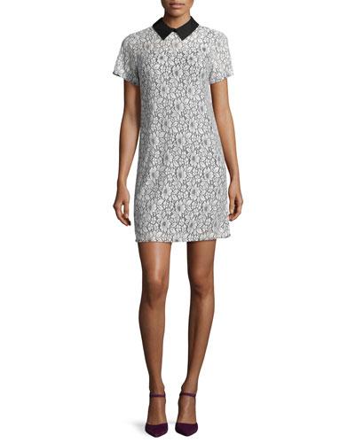 Contrast-Collared Lace T-Shirt Dress, Ecru