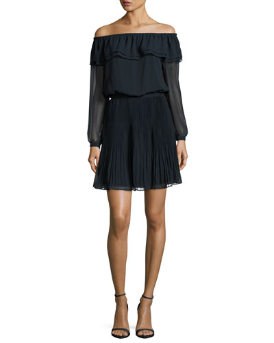 Off-the-Shoulder Pleated Dress, New Navy