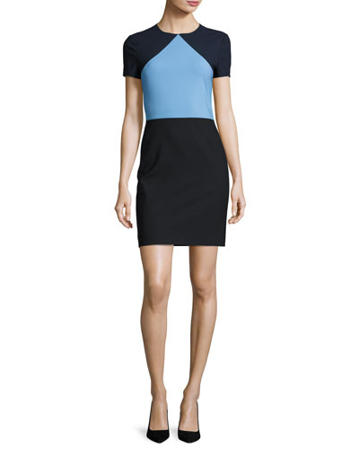 Colorblock Short-Sleeve Sheath Dress, Blue