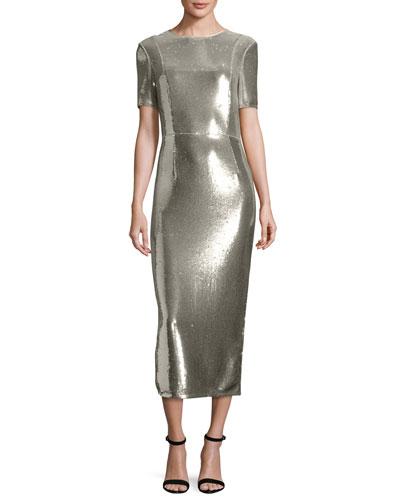 Sequined Sheath Midi Dress, Silver