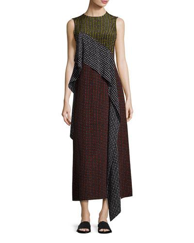 Sleeveless Dot-Print Silk Ruffle-Trim Maxi Dress, Multicolor