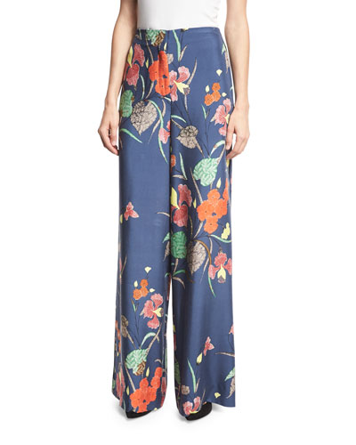 Floral-Print Wide-Leg Silk Toile Pants, Blue Multicolor
