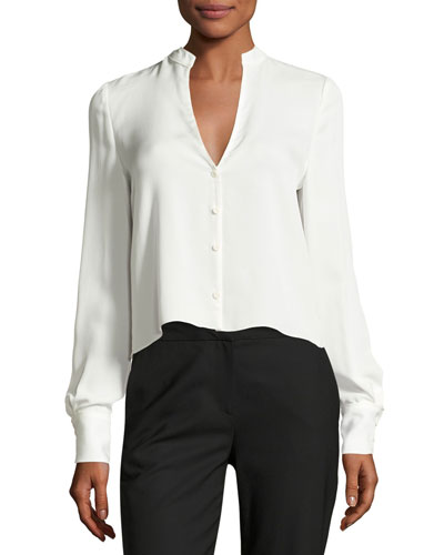 Cropped Silk Jersey V-Neck Shirt, White