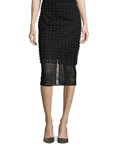 Twig & Diamond Lace Pencil Skirt, Black