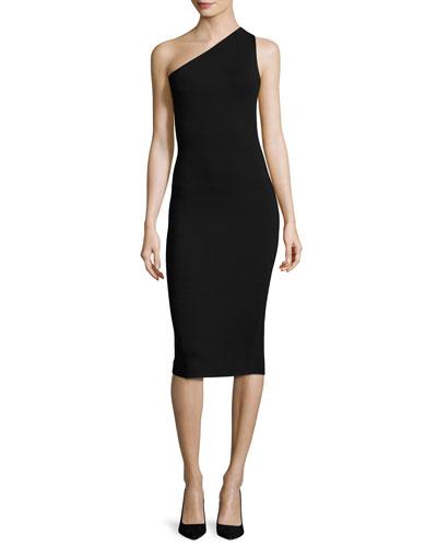 One-Shoulder Knit Midi Dress, Black