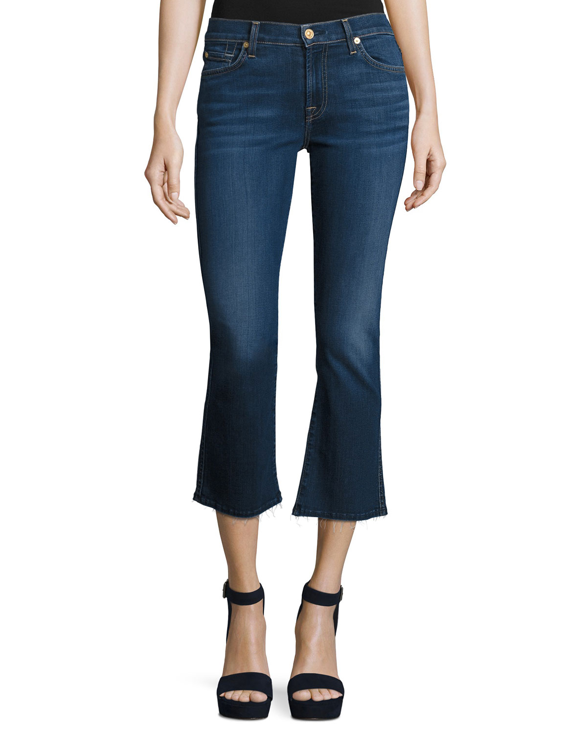 New Luxe Cropped Boot-Cut Jeans with Raw Hem, B(Air) Duchess