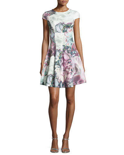 Mah Illuminated Bloom Floral-Print Fit & Flare Dress, Purple