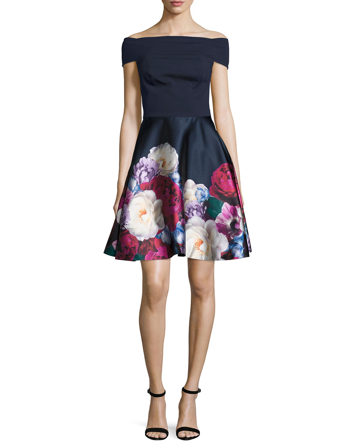 Nersi Blushing Bouquet Floral-Print Off-the-Shoulder Bardot Dress, Navy