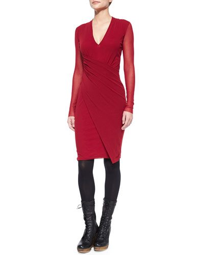 Long-Sleeve V-Neck Wrap-Front Dress
