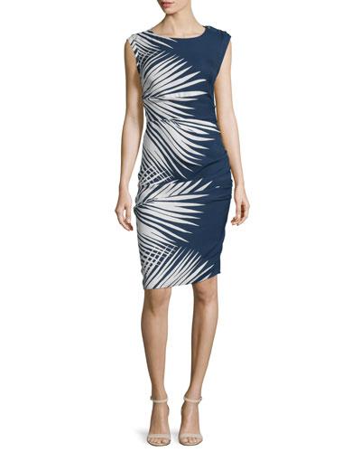 Mojorra Ruched Leaf-Print Sheath Dress, Navy/White