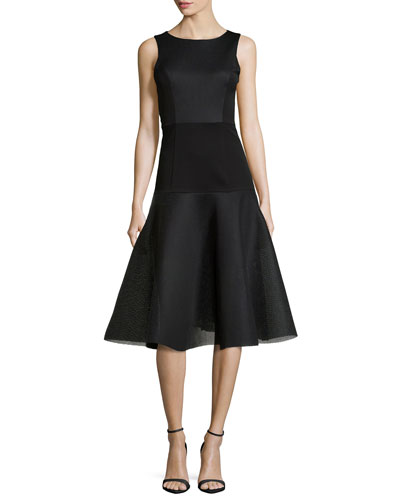 Vogue Bateau Fit-and-Flare Dress, Black
