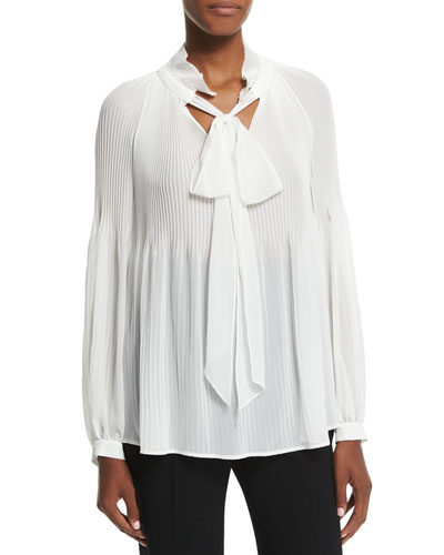 Victorian-Sleeve Plisse Tie-Neck Blouse, Off White