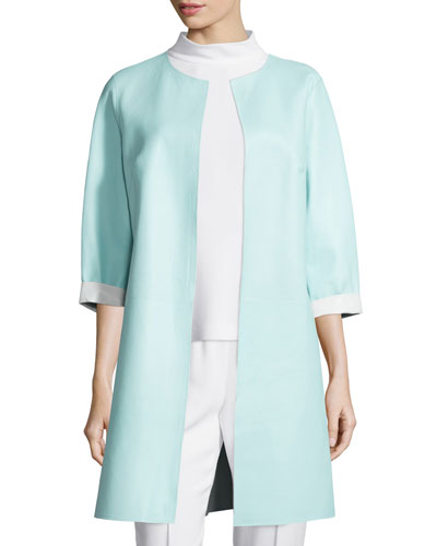 Reversible Leather Long Jacket, Off White/Mint