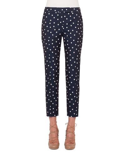 Frankie Polka-Dot Slim-Leg Cropped Pants, Navy/Cream