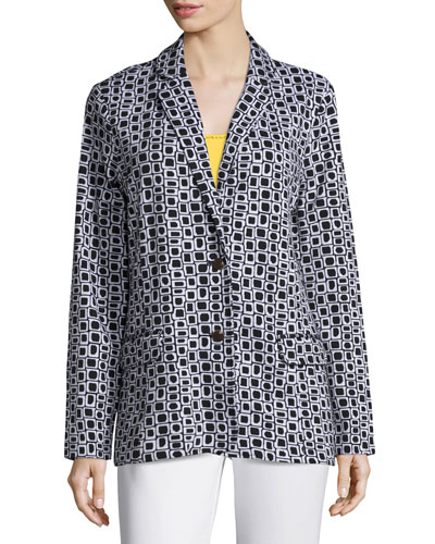 Petite Geometric Jacquard Interlock Jacket