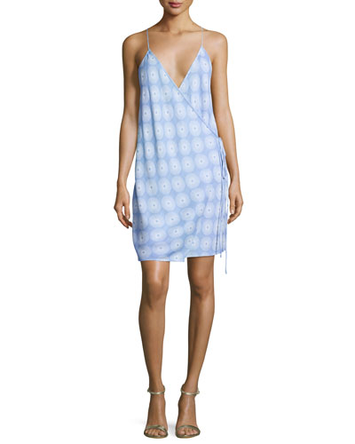 Printed Tie-Side Slip Dress, Blue