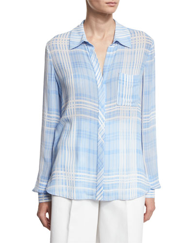 Carter Plaid Long-Sleeve Shirt, Blue