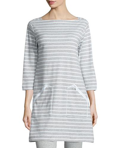 Striped Interlock Tunic, Gray/White, Petite