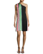 One-Shoulder Pleated Ribbon Dress, Multicolor