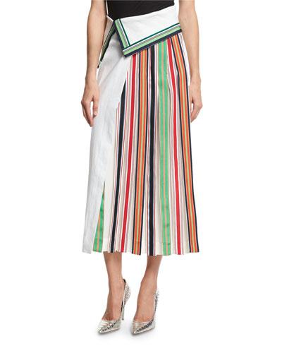 Side-Pleat Ribbon-Stripe Midi Skirt, White