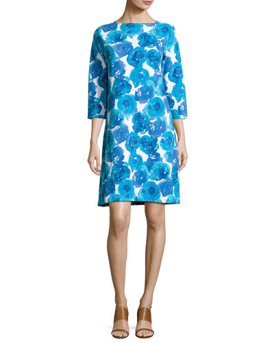 3/4-Sleeve Floral-Print Shift Dress, Plus Size