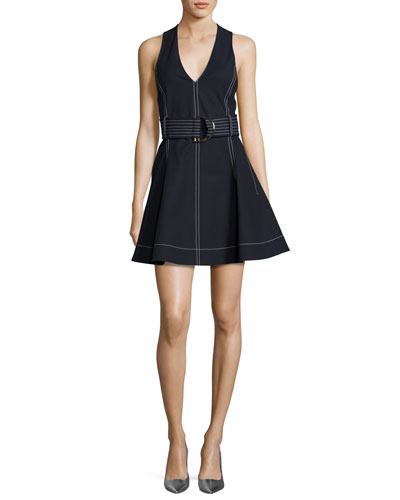 D-Ring Belted Fit & Flare Dress, Deep Navy Blue