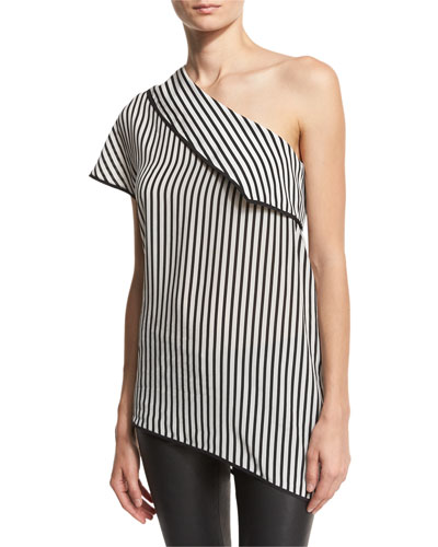 One-Shoulder Striped Side-Slit Silk Top, Black/White