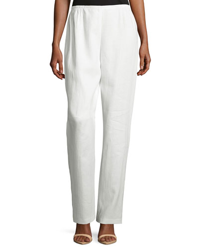 Straight-Leg Linen Pants, White, Plus Size
