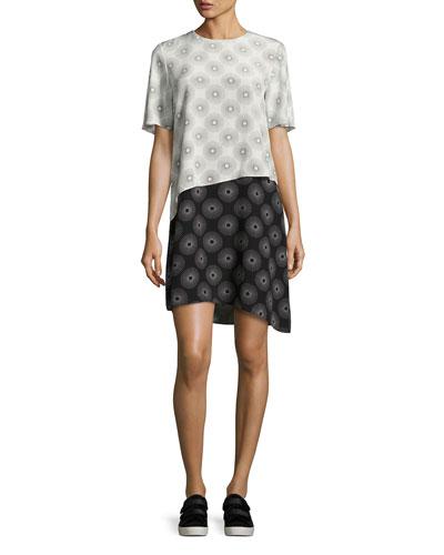 Sunburst-Print Tiered Silk T-Shirt Dress, Black/White