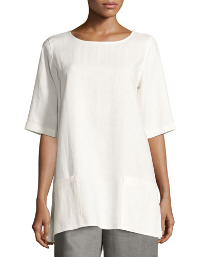 Half-Sleeve Two-Pocket Linen Tunic, Petite