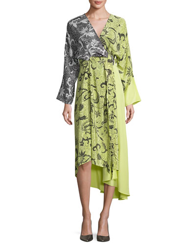 Colorblock Floral-Print Silk Kimono Dress, Yellow