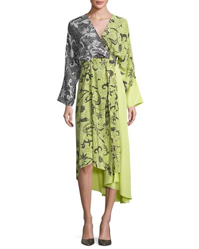 Colorblock Floral-Print Silk Kimono Dress, Yellow