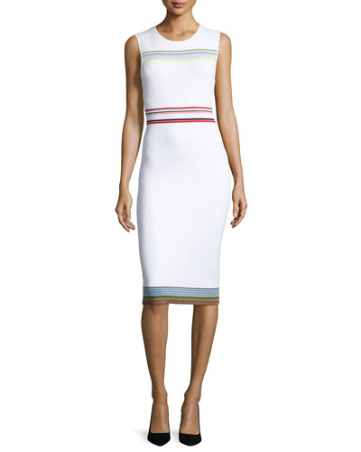 Ribbon Knit Sleeveless Sheath Dress, Ivory