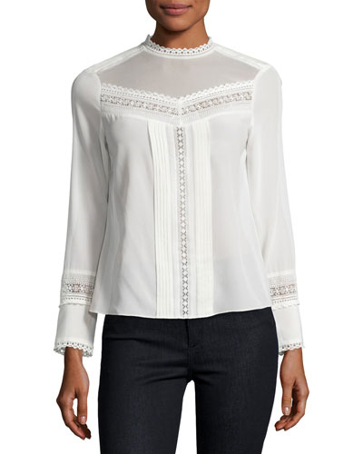 Lace-Trim Long-Sleeve Silk Top, White