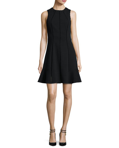 Diamond-Textured Sleeveless Fit & Flare Dress, Black