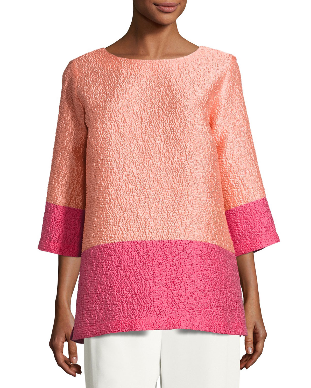 Colorblock Cloque Tunic